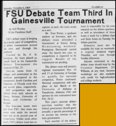 """FSU Debate Team Third in Gainesville Tournament"""
