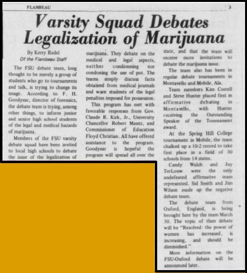 """Varsity Squad Debates Legalization of Marijuana"""