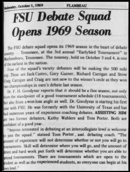 """FSU Debate Squad Opens 1969 Season"""