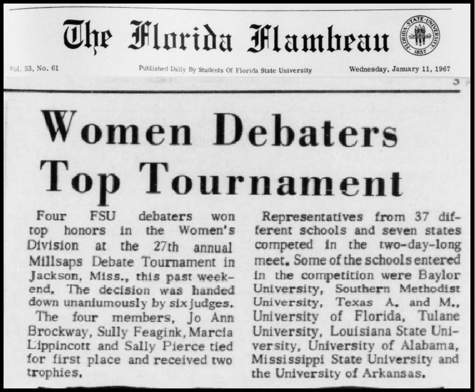 """Women Debaters Top Tournament"""