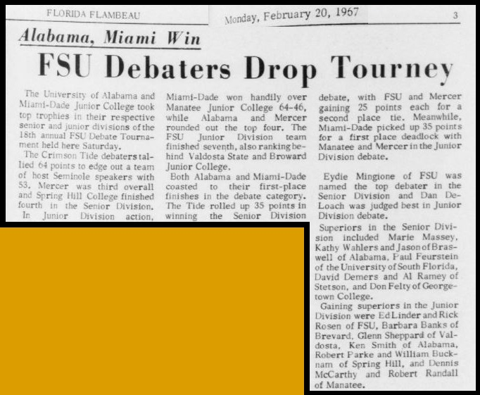 """FSU Debaters Drop Tourney"""