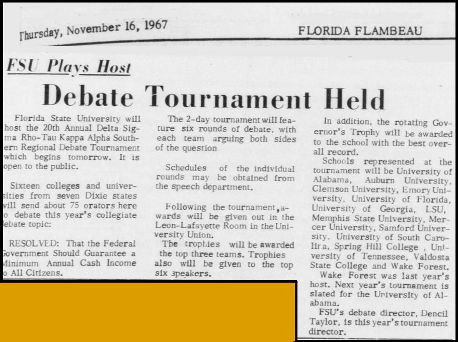 """Debate Tournament Held"""