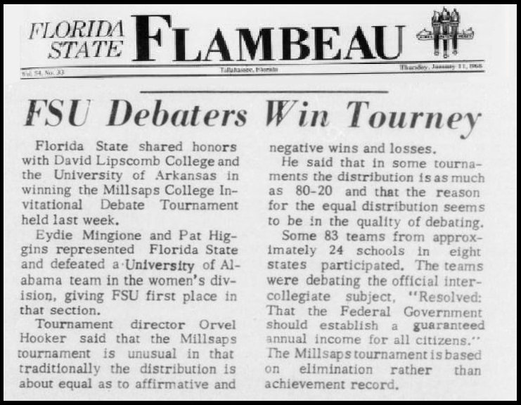 """FSU Debaters Win Tourney"""