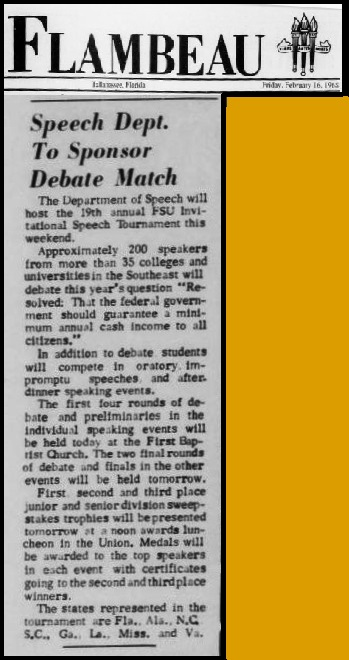 """Speech Dept. To Sponsor Debate Match"""