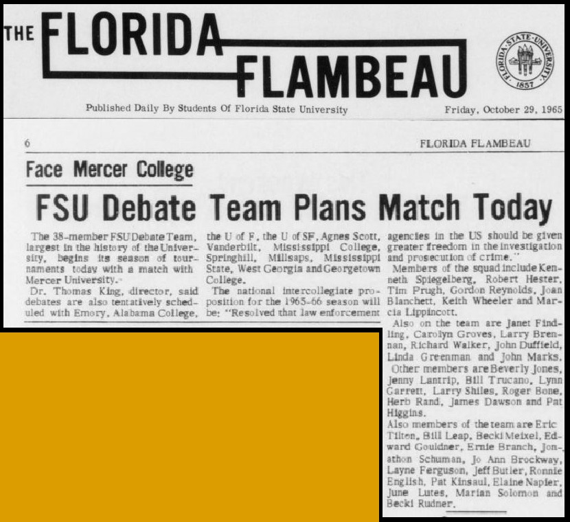 """FSU Debate Team Plans Match Today"""