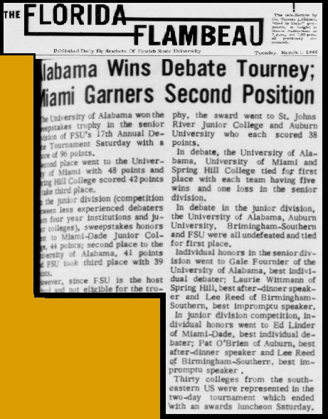 """Alabama Wins Debate Tourney"""