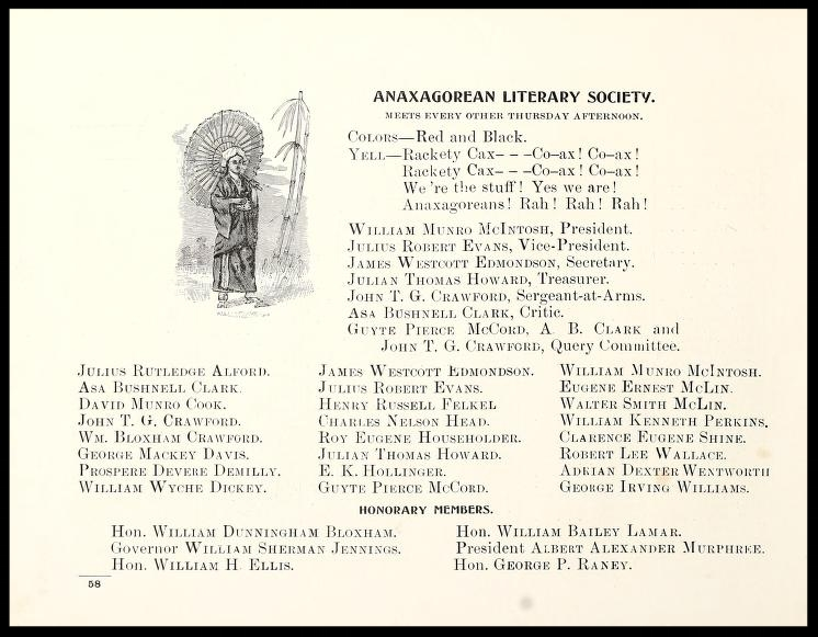 Anaxagorean Literary Society Members 1900 - 1901
