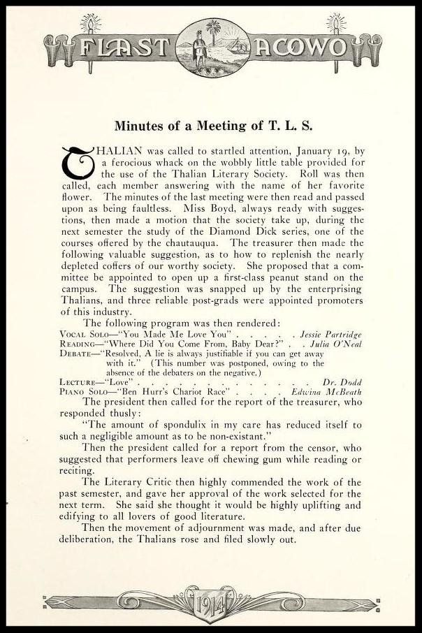 Thalian Literary Society Minutes