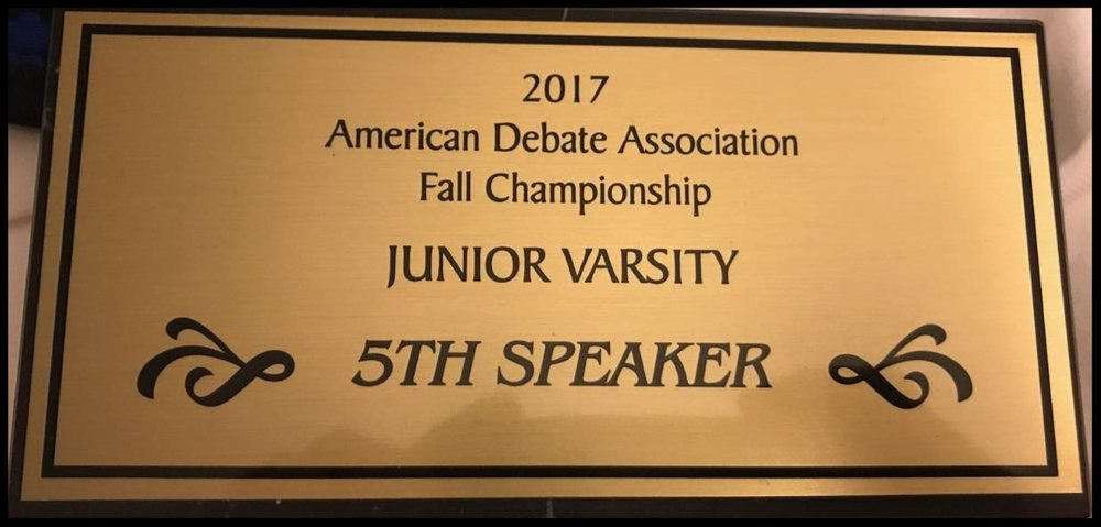 2017 Fifth Speaker Fall ADA JV Championship Tournament