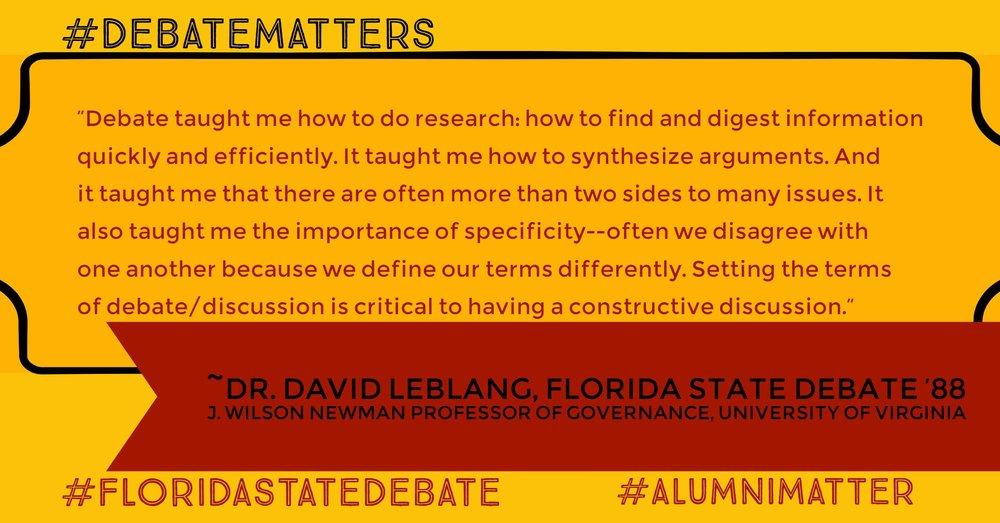 #DebateMatters David Leblang '88