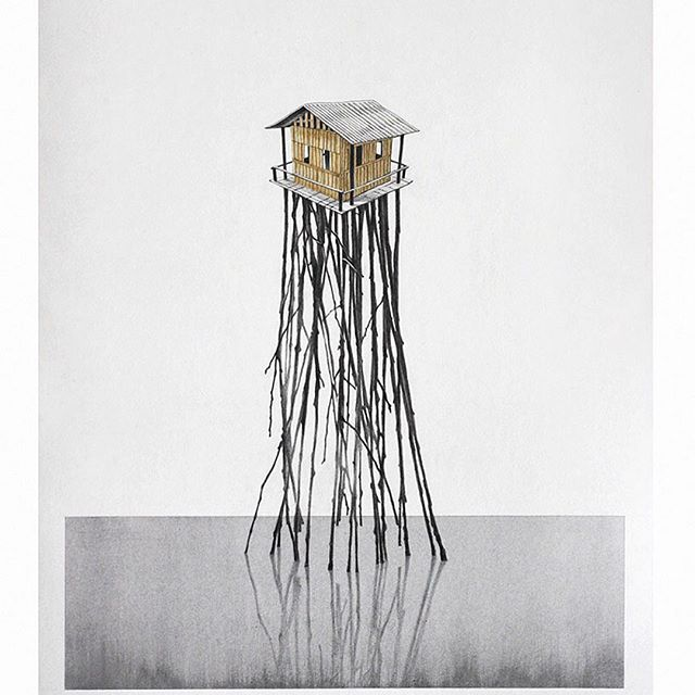 Palafitos / Pacific  Graphite, tape on paper.  #colombianartist #contemporaryart #felipebedoya #pacific #palafitos #home