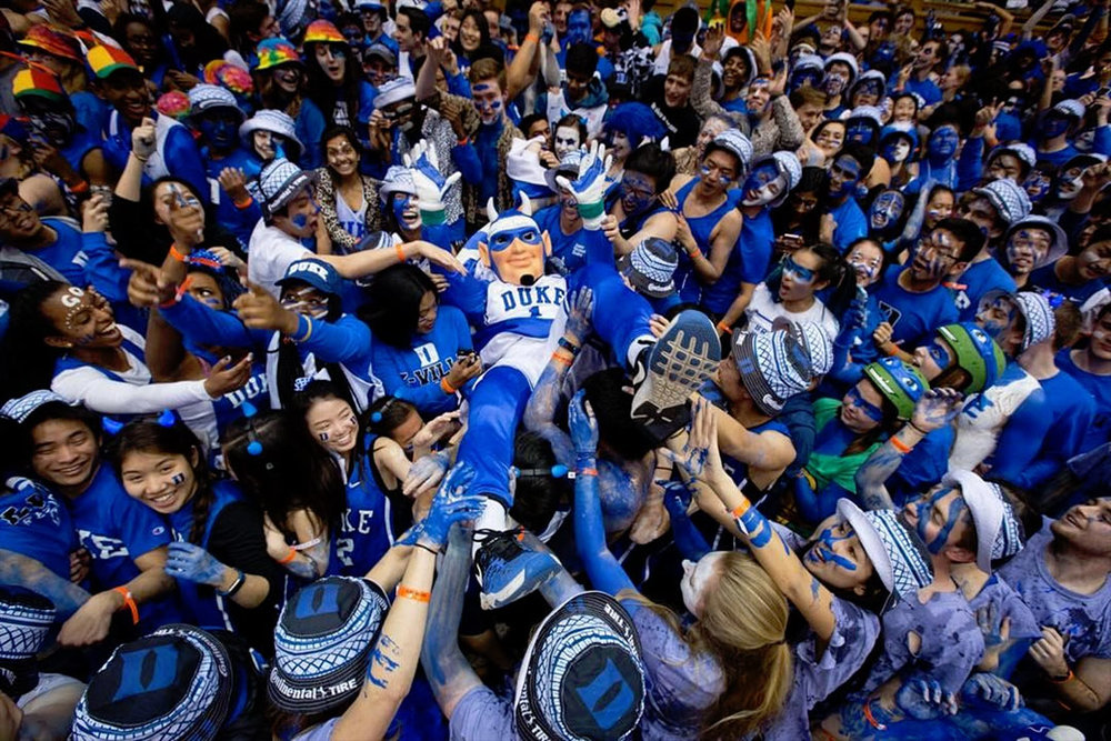 Crowd Surfing Blue Devil - This seems to be a common thing for the Blue Devil mascot, especially after a big win in Cameron.