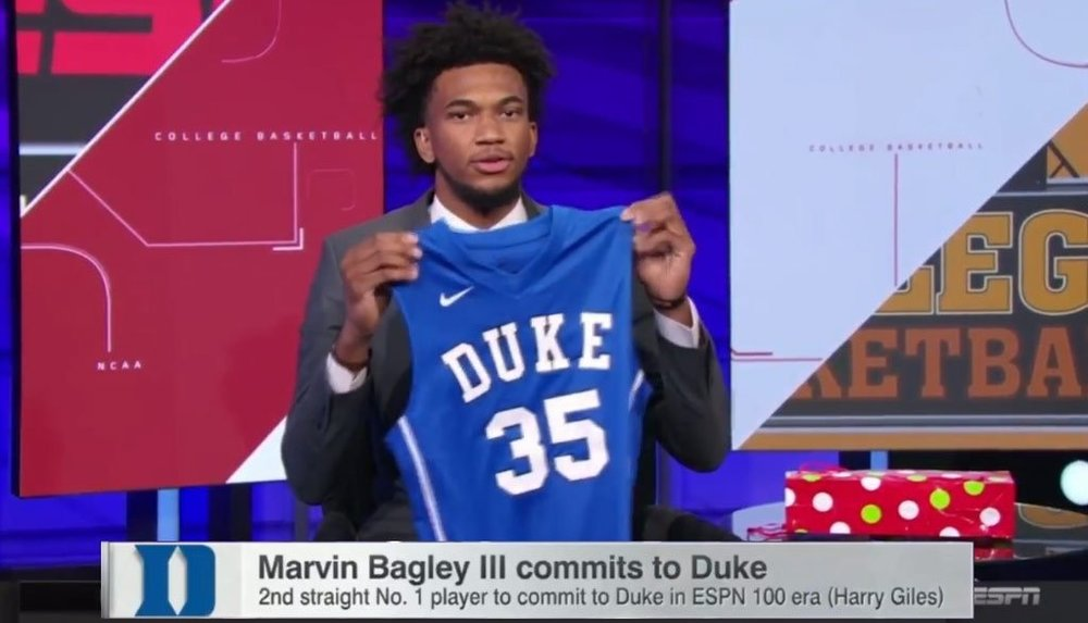 Marvin Bagley III on ESPN announcing his college decision