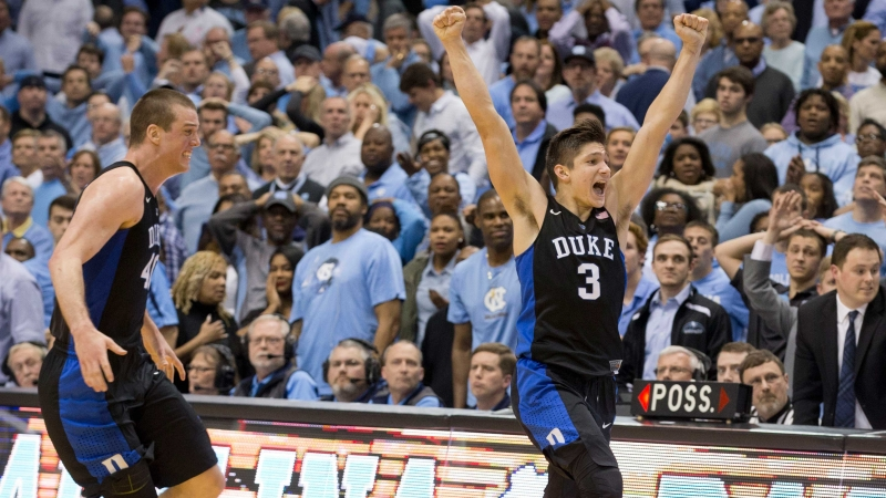 Grayson Allen rejoices after Duke victory over rivals UNC - Duke vs. UNC 2016