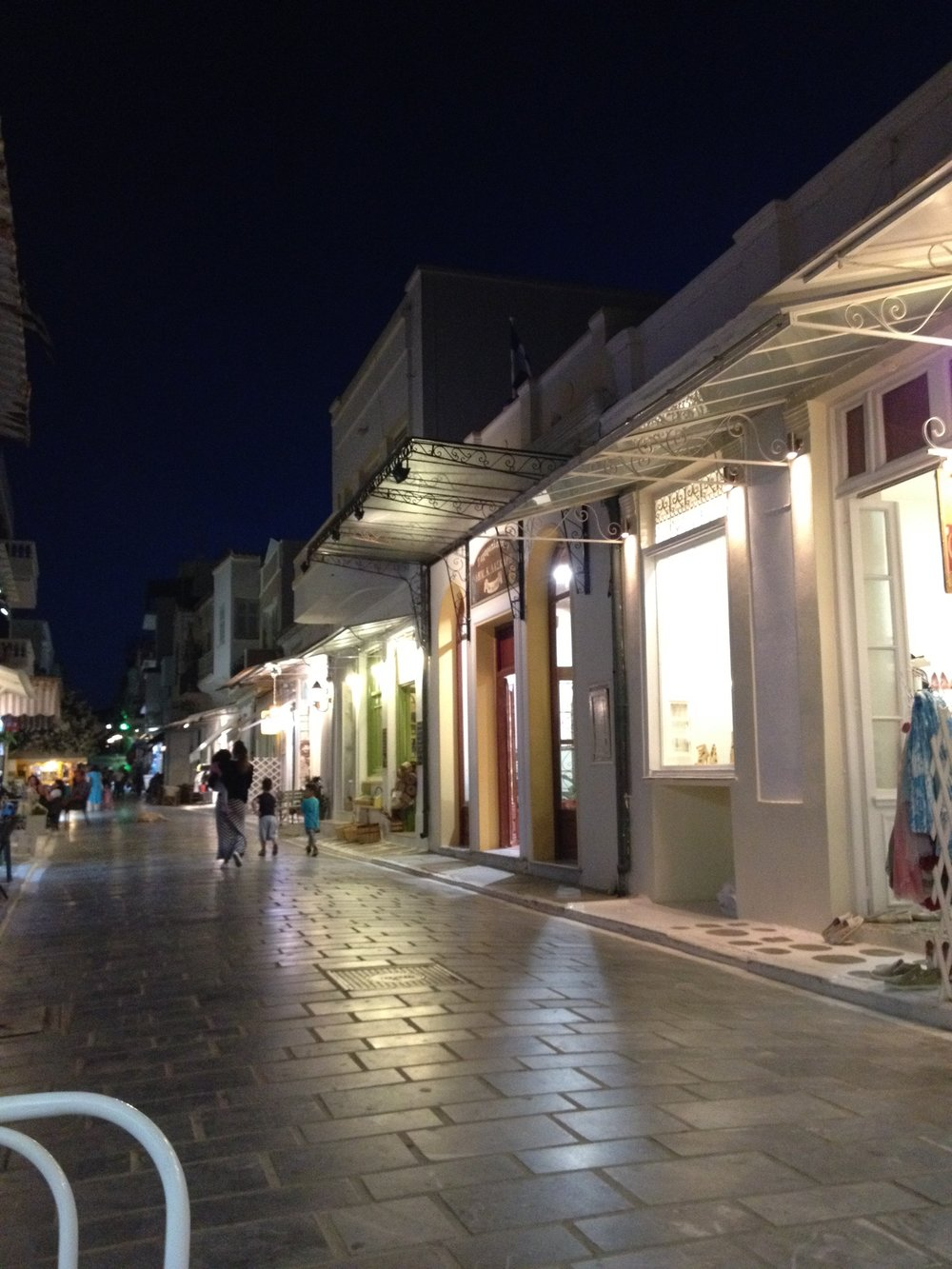 Andros town at night on the main street