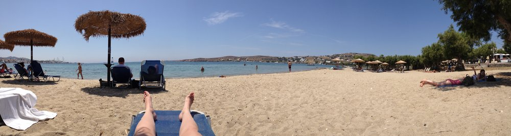 The beach by the hotel in Paros