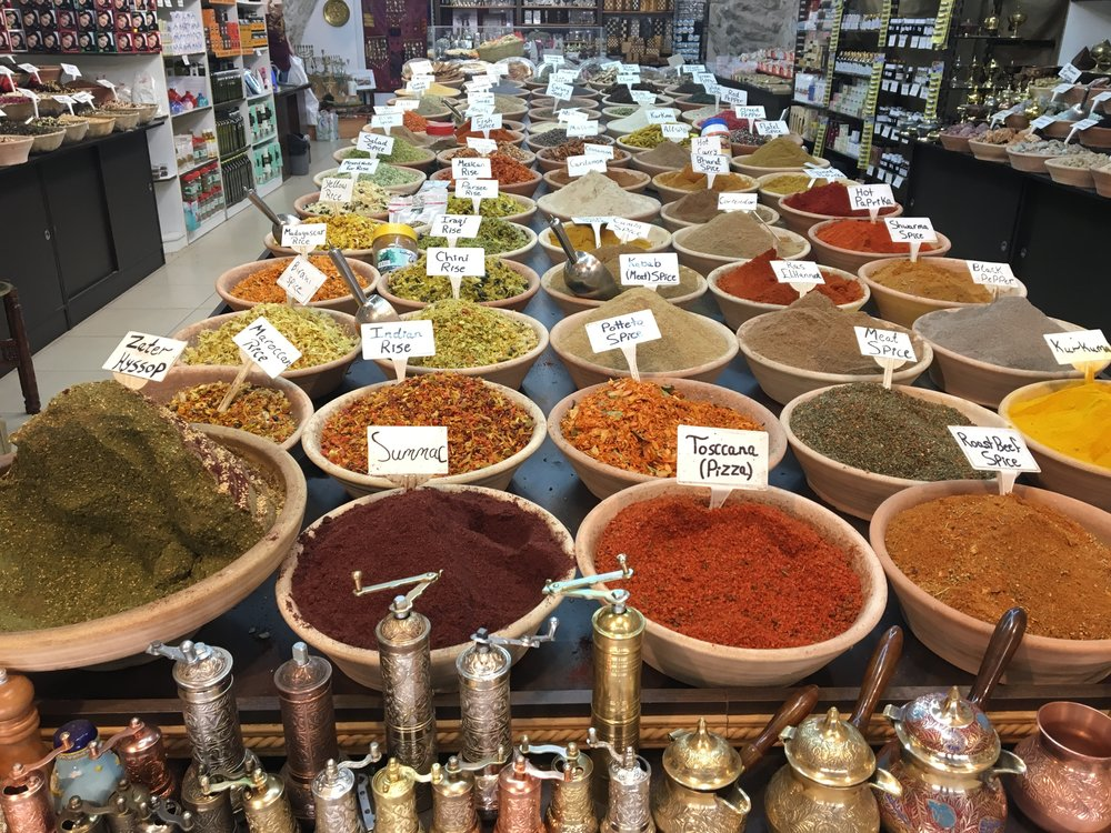Spices being sold at a shop near the Western Wall