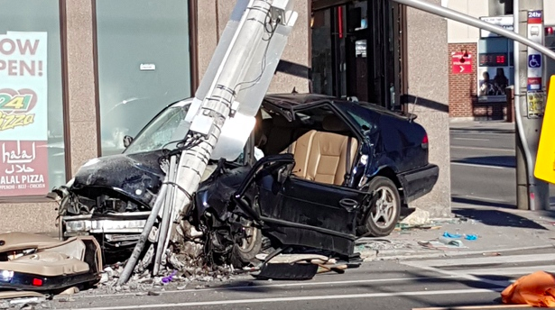 Man seriously hurt after car strikes pole in Corktown