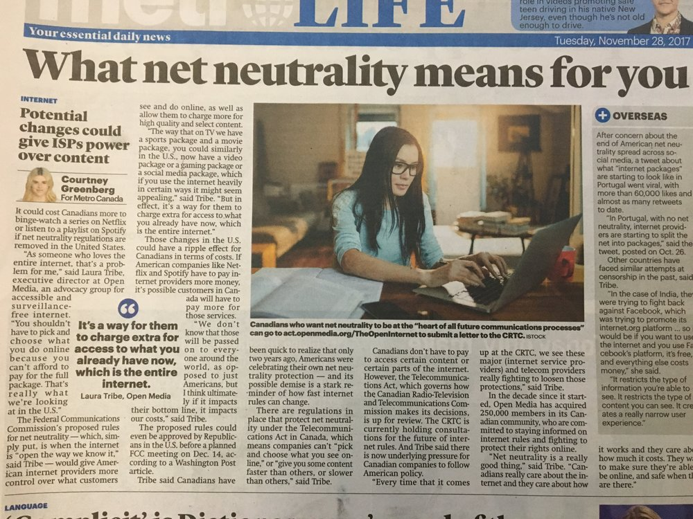 Metro News Toronto —November 28, 2017