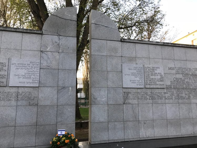 "The  Umschlagplatz  monument shows the ""collection spot"" where Jews would wait to be deported from the Warsaw Ghetto to concentration camps."