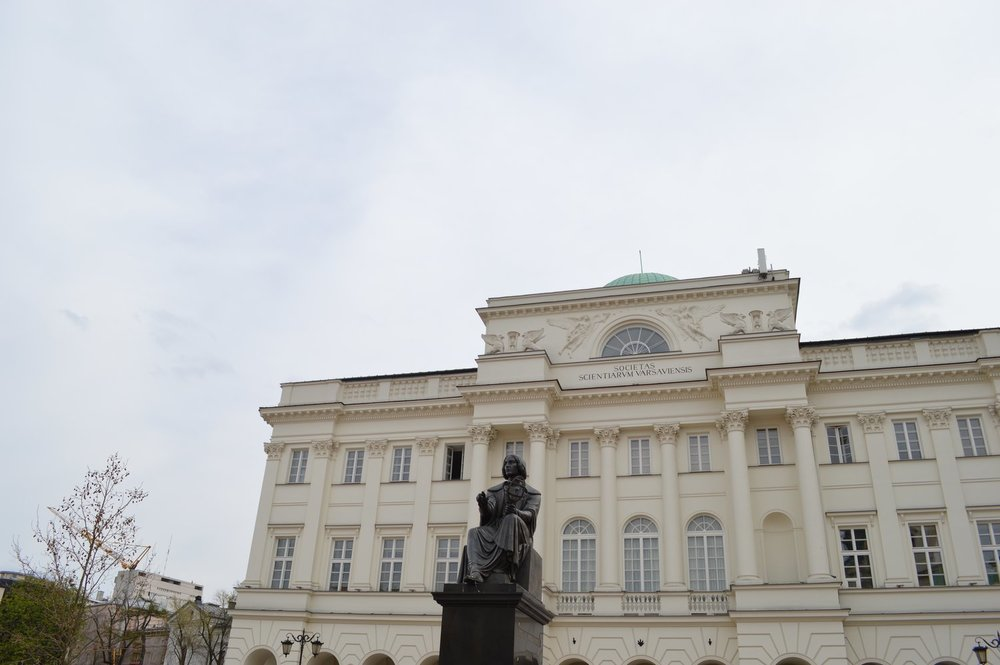 The Copernicus monument in front of the Staszic Palace in Warsaw
