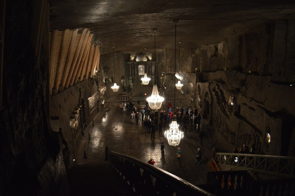 A view of a large room in the salt mine