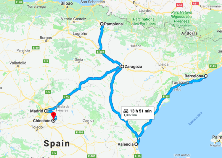 Roughly the route I took around Spain. (Ignore the 13 hours and 51 minutes. That's how long it would have taken me to drive! Maybe next time. Road trip anyone?)