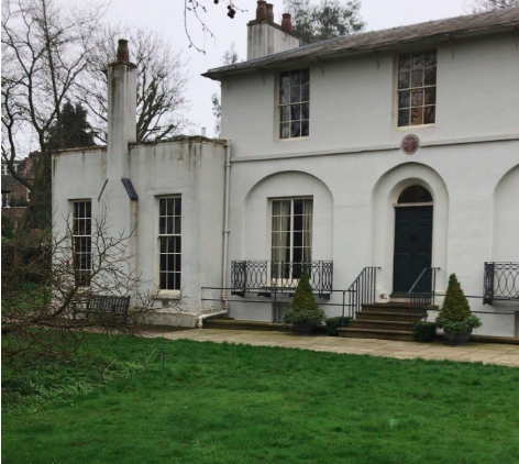 This is the Keats House, named after one of its famous guests, the English poet John Keats, who moved into the home with his brother until he died of tuberculosis.