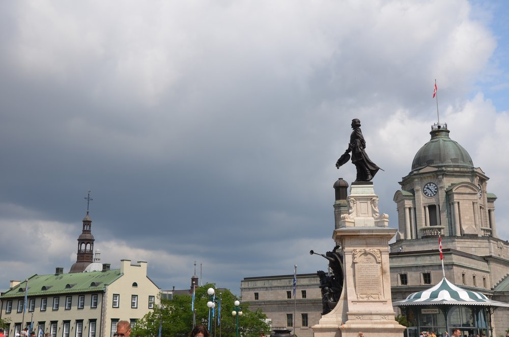 The statue of Samuel de Champlain stands guard on the  Terrasse Dufferin.