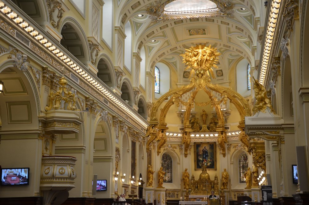 Inside the cathedral.