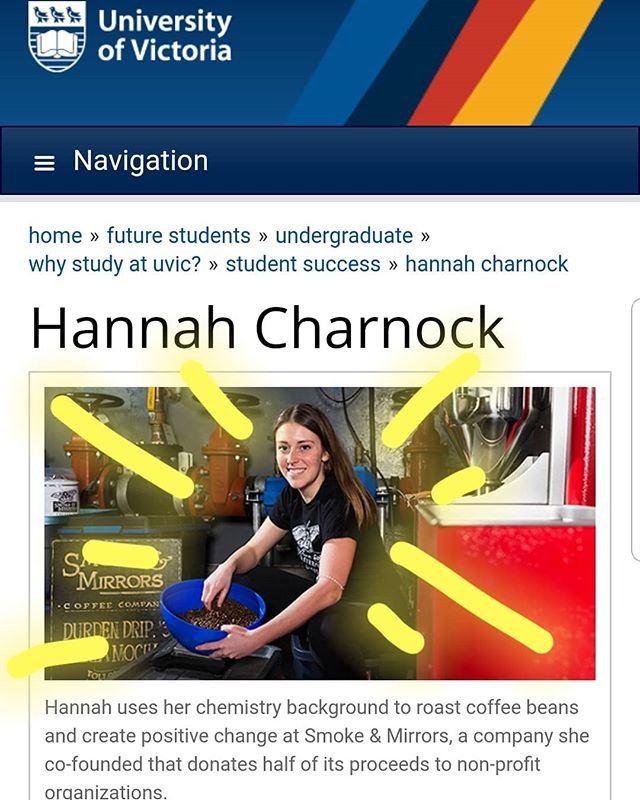Our shining co-op star Hannah has landed her own page on the UVic website. Ya. She fancy. Check out uvic.ca/hannah to read about how chemistry 👩🔬 + coffee ☕ = positive social change 🙋♀️