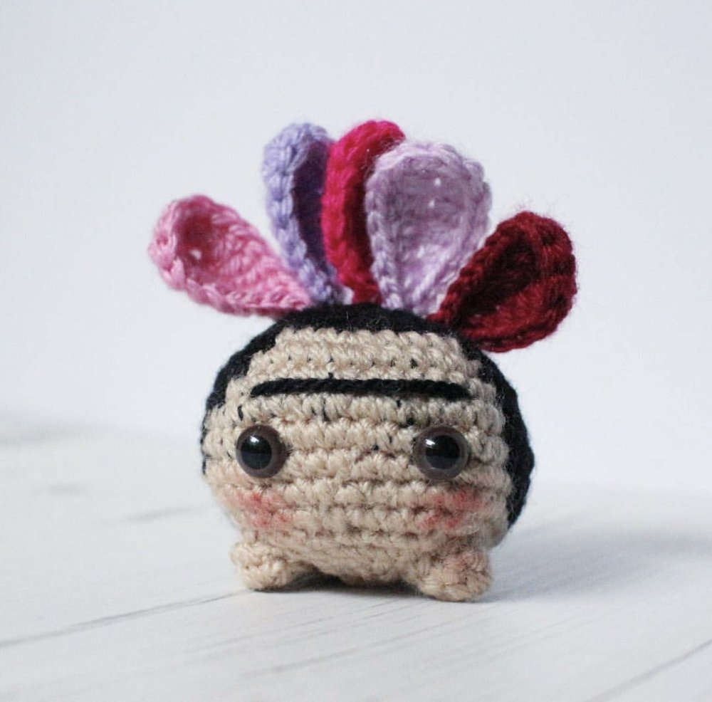 Frida Khalo Oddish made by @knittycatcrochet