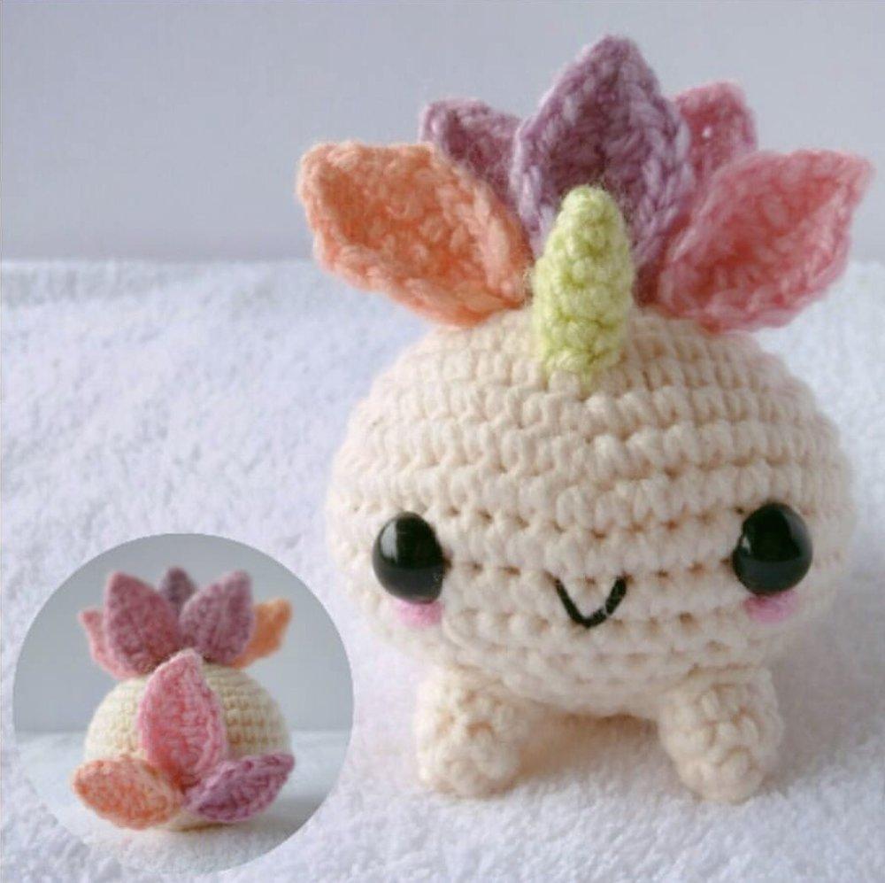 Unicorn Oddish made by @nerdy_craftyyarn