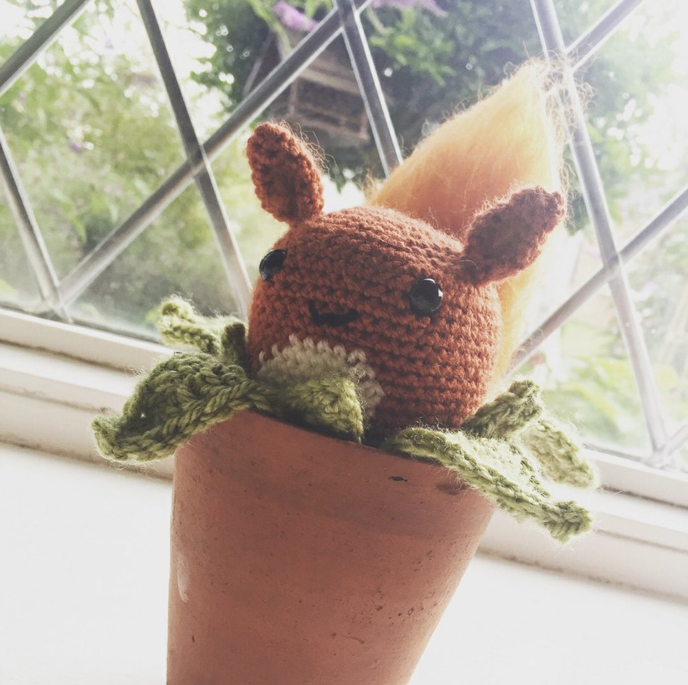 Eevee Oddish made by @hooked.with.crochet