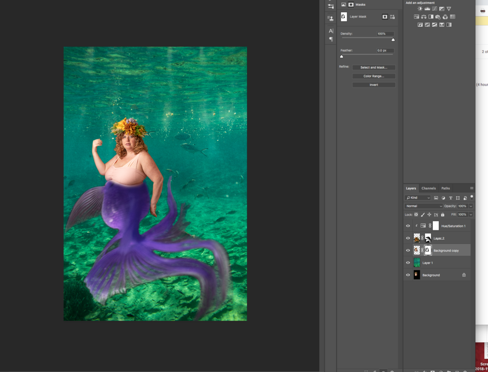 I selected the tail of a fish that I had photographed and placed it roughly on the models body where I wanted it to fit to create the mermaid tail.