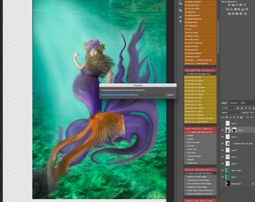 I started to add in several more layers of the fishes tail…this is when the iMac started to get really slow-but I couldn't flatten the image as I knew that there was a lot more work to be done behind and in front of the subject to blend her into the scene.
