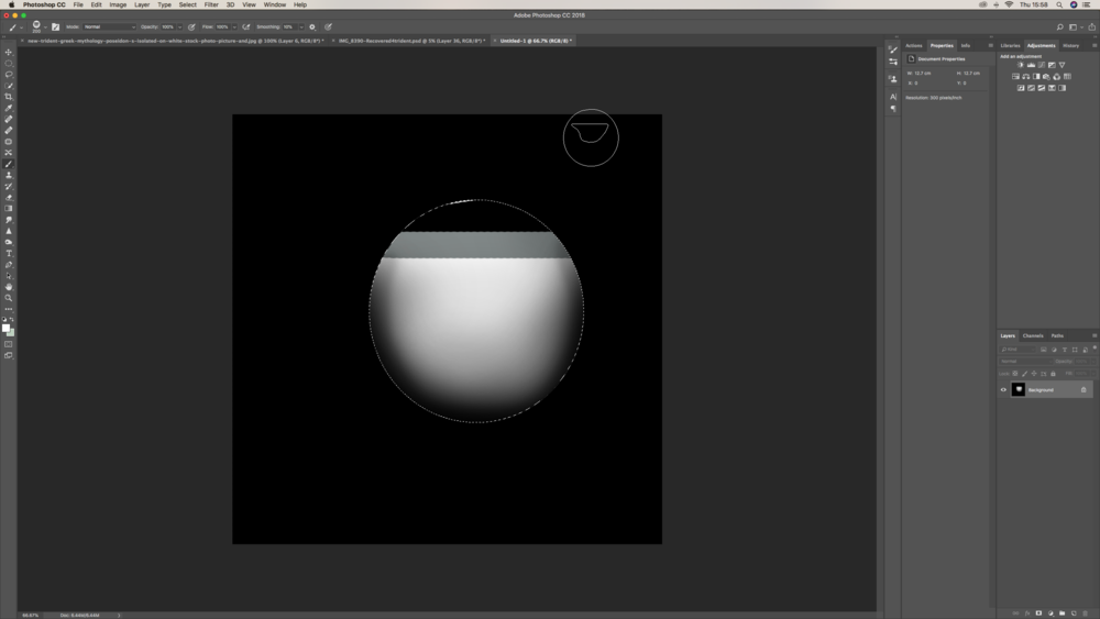 I created a bubble brush preset by doing the above with a mixture of hard and soft brushes and the elliptical tool.