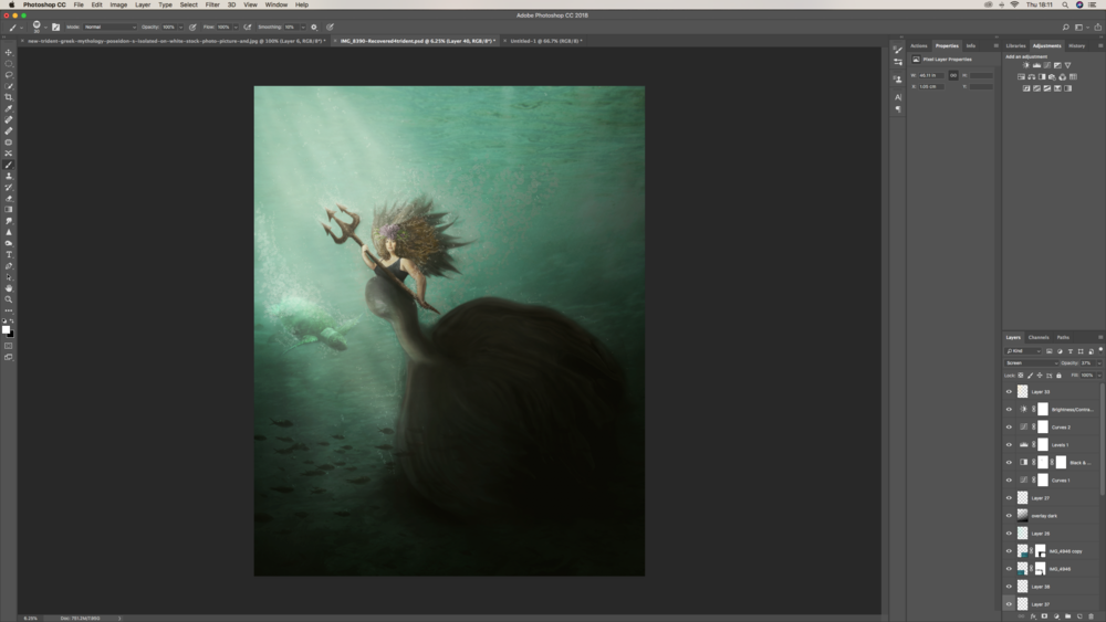 I applied the bubble brush in various opacities to the turtle, fish and to add movement to the mermaids tail and hair. I also added in more light streams to the image to create a more dimensioned effect