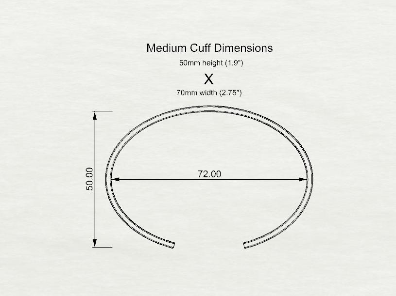 Medium cuff Dimensions