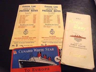 Passage rates to Europe aboard the Queen Mary circa 1954