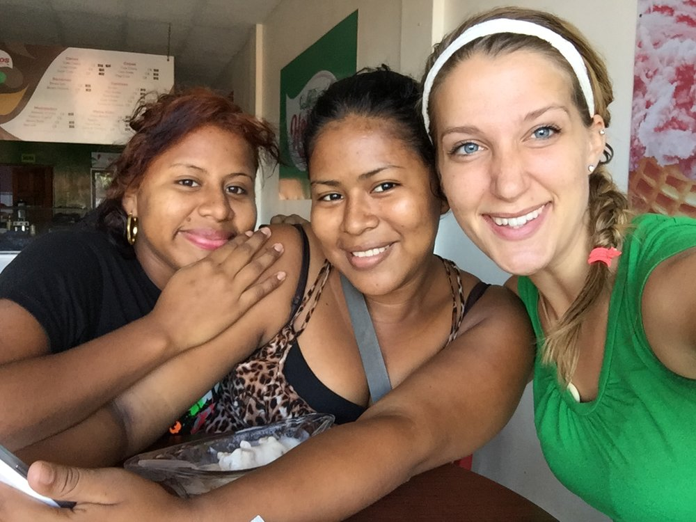 Diana and Chickymaria with Emily (right) at their first business meeting, brainstorming ideas.