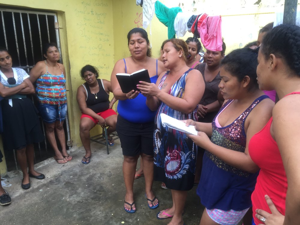 Women in the Puerto Cabezas jail, gathering for a bible study with Emily.