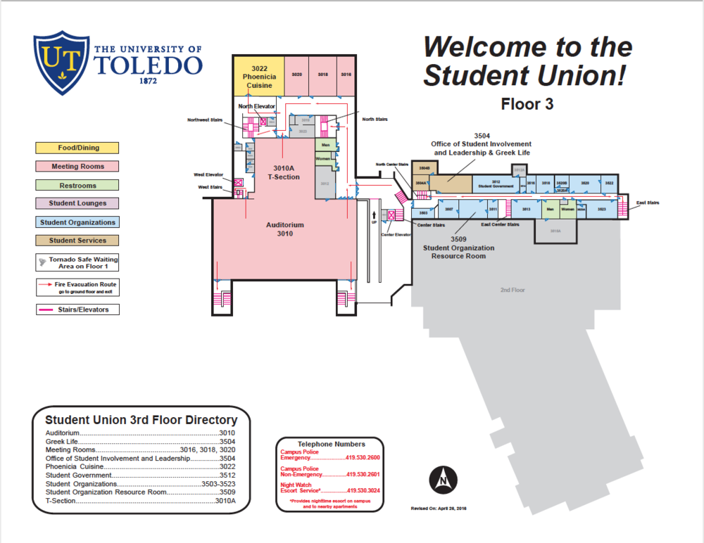 3rd Floor Student Union Map -