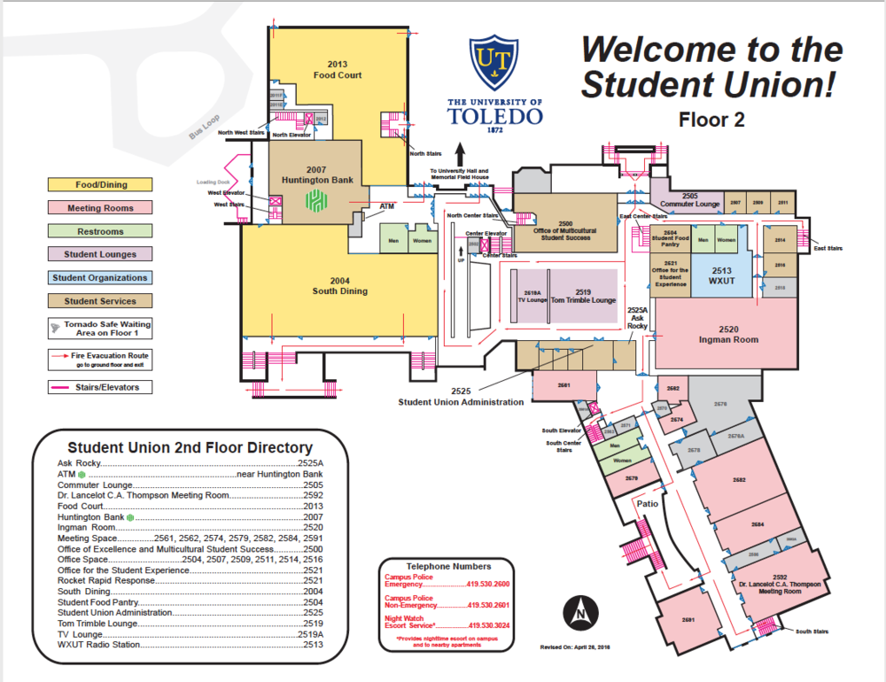 2nd Floor Student Union Map -