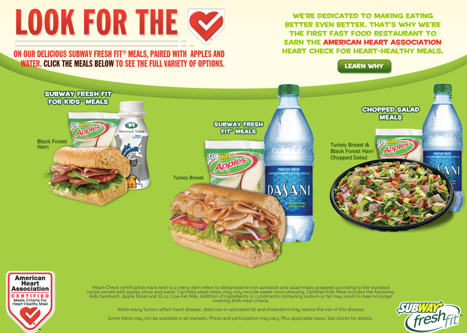 "The official American Heart Association ""Heart Check"" certification listed on Subway's website. Do these ingredients looks healthy to you?   9-GRAIN WHEAT  Whole wheat flour, enriched flour (wheat flour, niacin, iron, thiamine mononitrate, riboflavin, folic acid), yeast, sugar, wheat gluten, contains 2% or less of: calcium carbonate, soybean oil, salt, wheat, rye, yellow corn, oats, triticale, brown rice, barley, flax seed, millet, sorghum, refinery syrup, vitamin D2, sunflower lecithin, natural flavor, honey, ascorbic acid, yeast extract, enzymes.  Contains wheat."