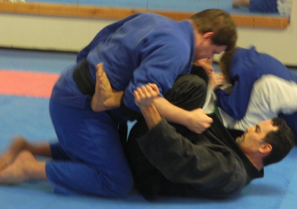 Be confident when you are on the ground.  You will learn how to gain a dominant position and protect yourself on the ground.  When you are old enough, you will learn how to lock and choke to submit your opponent.