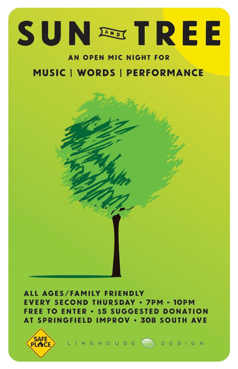 Sun and Tree - Do you or someone you know need a creative space to perform in? Every second Thursday ORO hosts an all ages, family friendly Open Mic. This is a great place to get your first performance in. See yourself and others shine and grow. Prizes are awarded to top performers and to random audience members.Next Event - Thursday, July 13, 7:30 PM @ Springfield Improv (308 South Avenue)Free to Enter, $5 Suggested Donation.