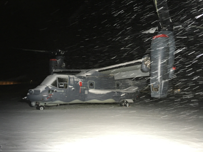 CV-22 Osprey in the Snow at the Air Force Academy