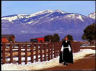 Sister Andrea Jaeger near her Colorado ranch