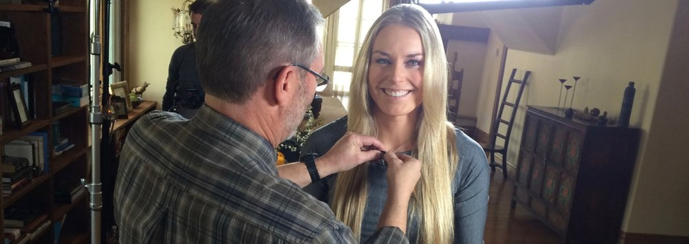 Olympic Skier Lindsey Vonn getting mic-ed